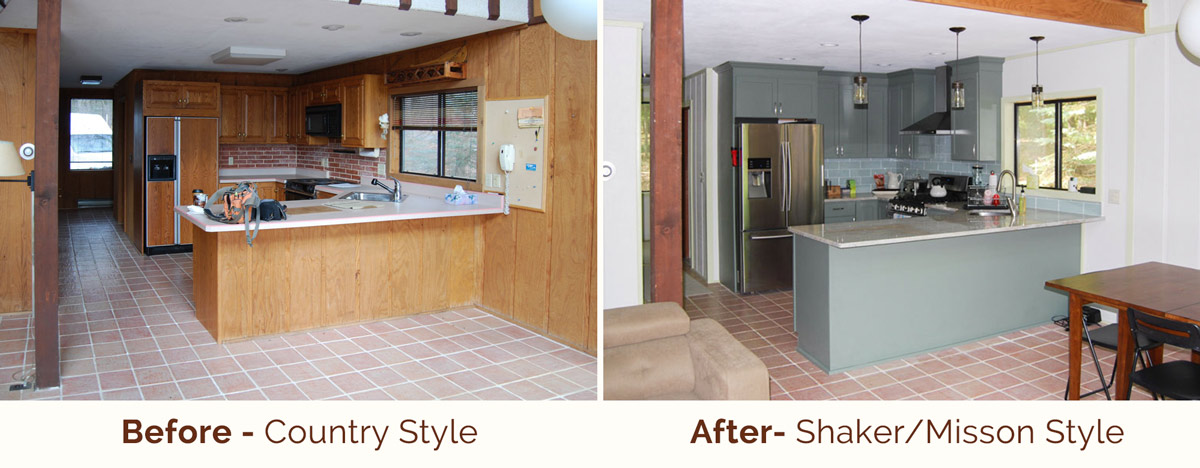 Country Kitchen to Shaker/Mission Before and After